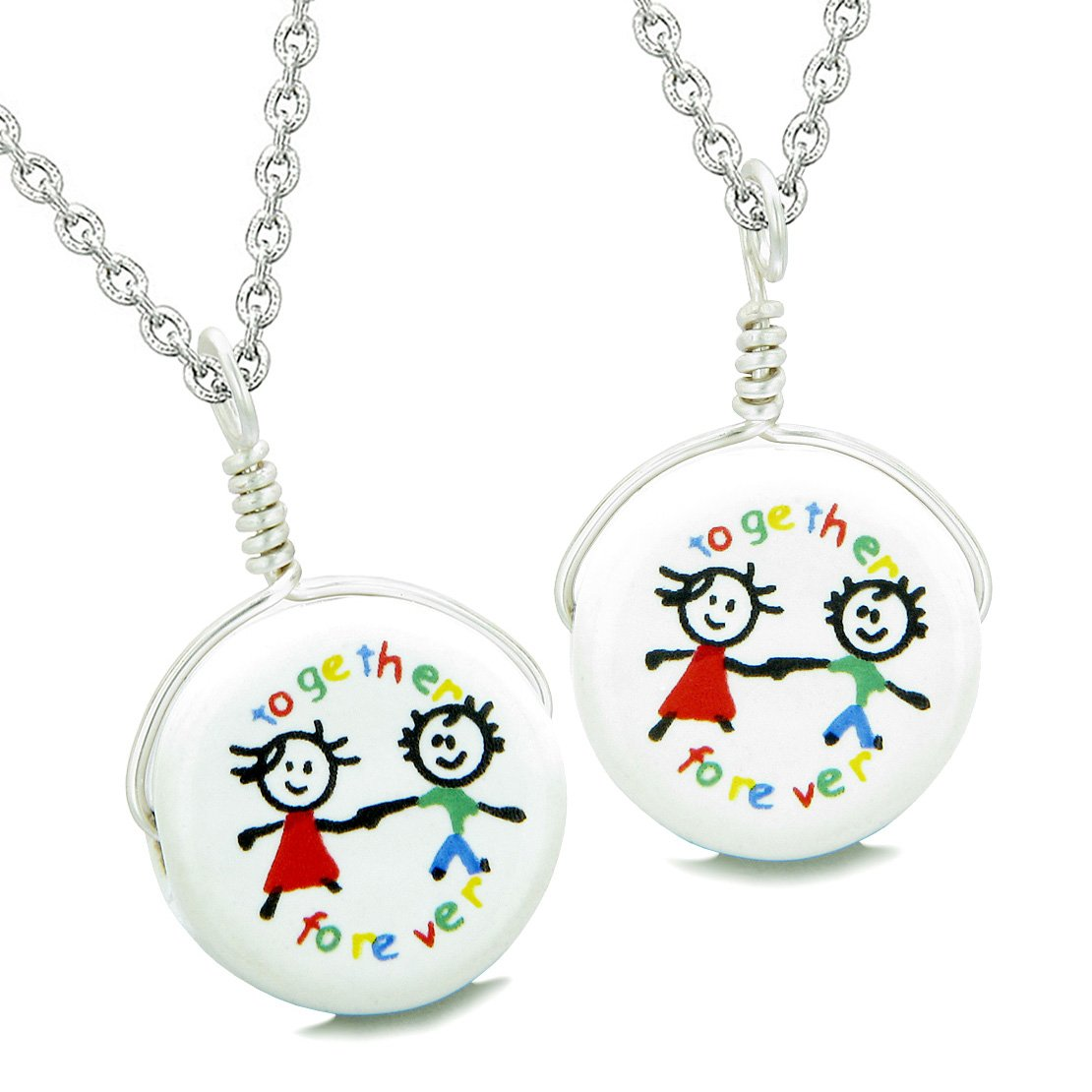 Love Couples or Best Friends Together Forever Set Cute Ceramic Lucky Charm Amulet Pendant Necklaces