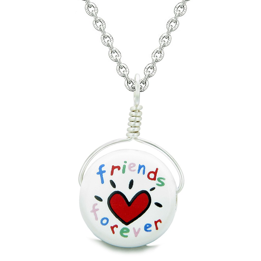 Handcrafted Cute Ceramic Lucky Charm Best Friends Forever Amulet Pendant 18 Inch Necklace
