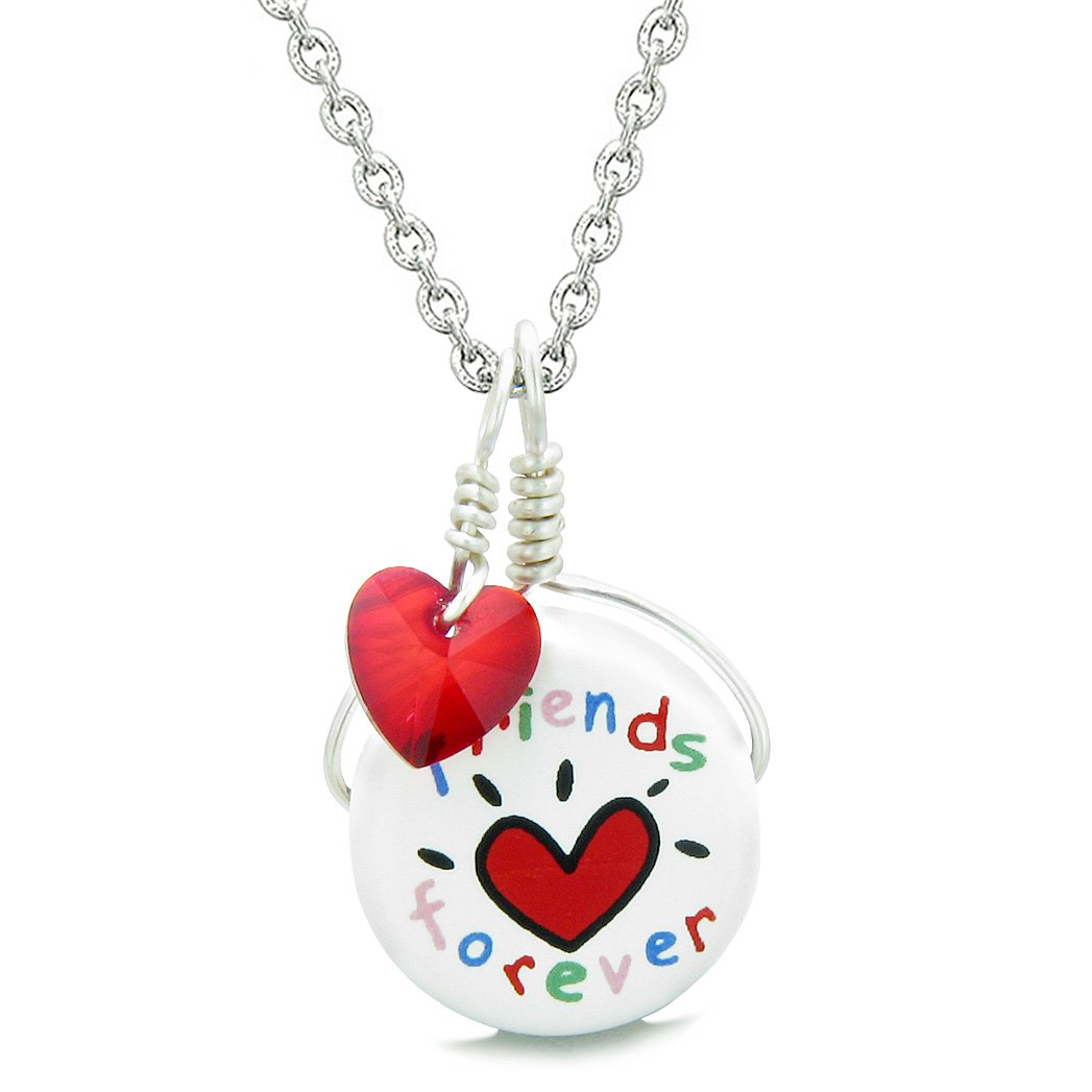 Handcrafted Cute Ceramic Lucky Charm Best Friends Forever Red Heart Amulet Pendant 22 Inch Necklace