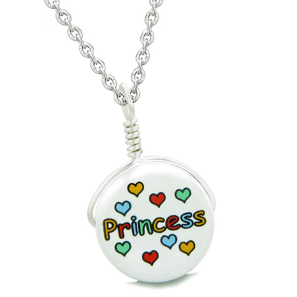 Handcrafted Cute Ceramic Lucky Charm Princess Multicolor Hearts Amulet Pendant 18 Inch Necklace