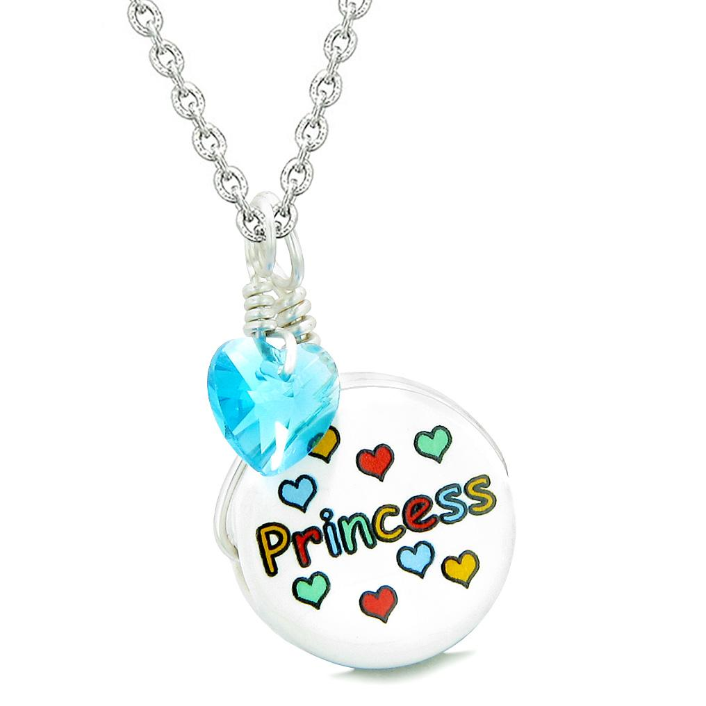 Handcrafted Cute Ceramic Lucky Charm Princess Sky Blue Heart Amulet Pendant 22 Inch Necklace