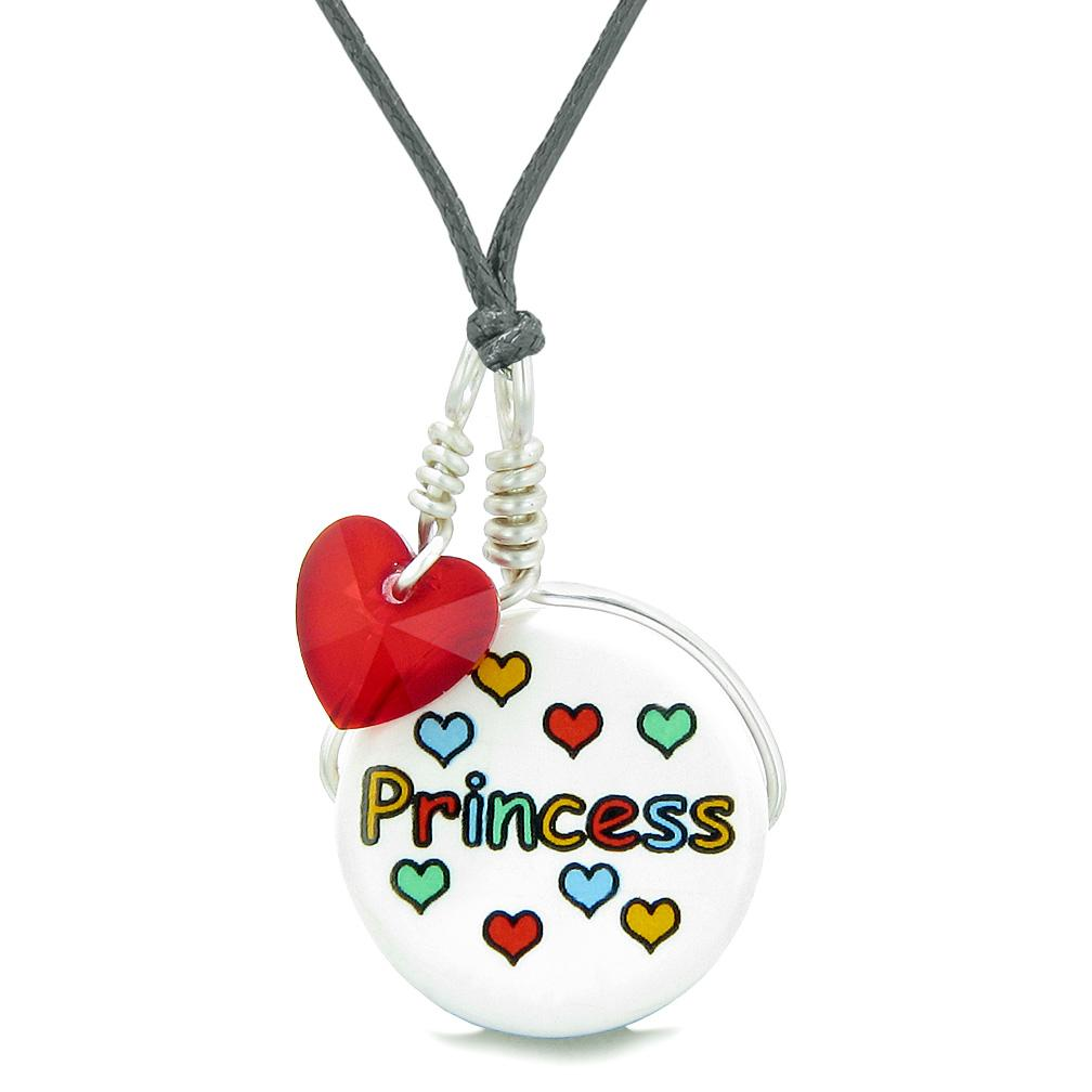 Handcrafted Cute Ceramic Lucky Charm Princess Royal Red Heart Amulet Pendant Adjustable Necklace