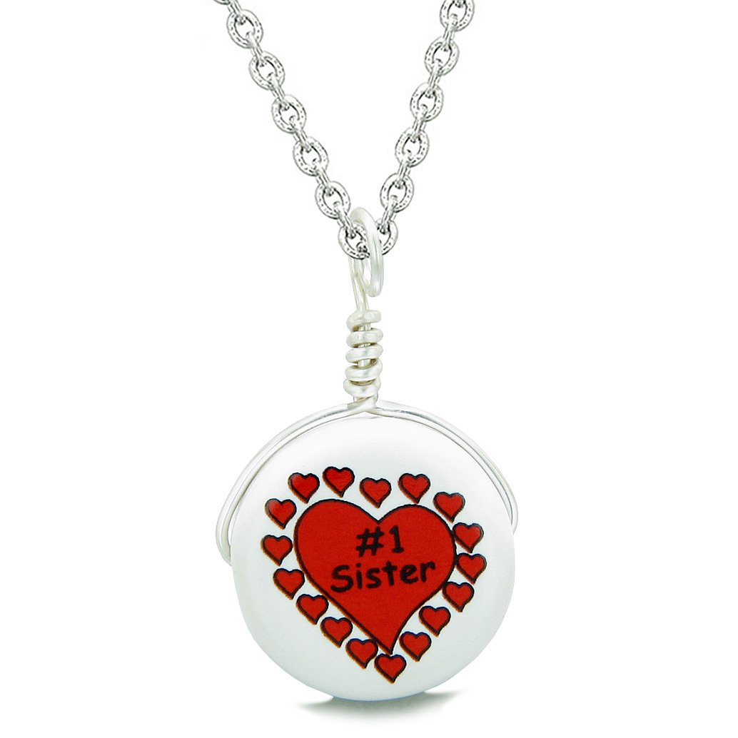 Handcrafted Cute Ceramic Lucky Charm Number One Sister Hearts Amulet Pendant 22 Inch Necklace
