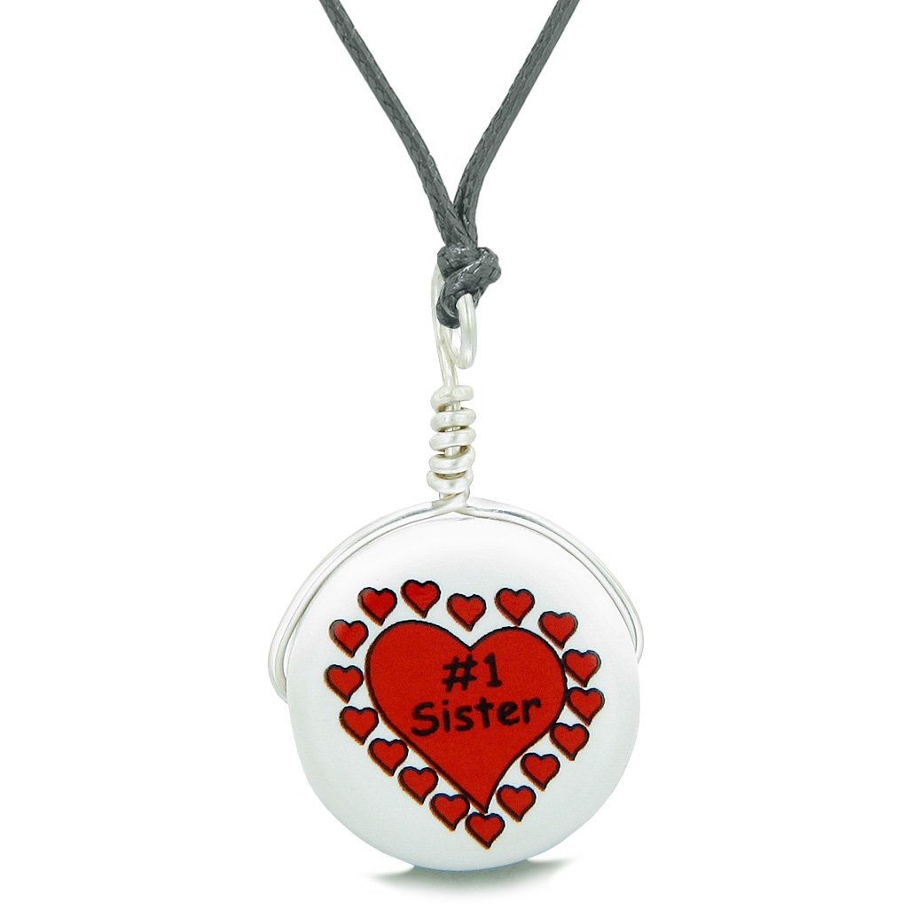 Handcrafted Cute Ceramic Lucky Charm Number One Sister Hearts Amulet Pendant Adjustable Necklace