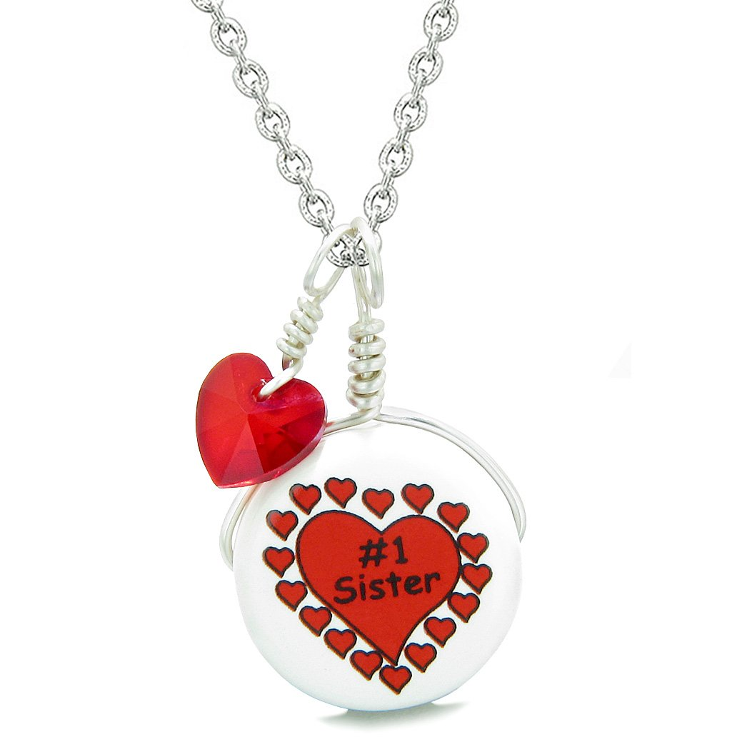 Handcrafted Cute Ceramic Lucky Charm Number One Sister Royal Red Heart Amulet Pendant 22 Inch Necklace