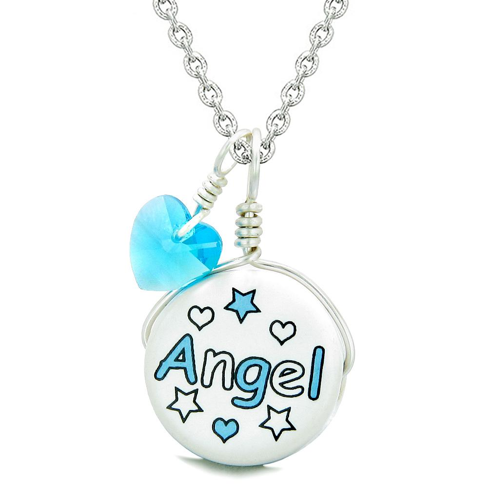 Handcrafted Cute Ceramic Lucky Charm Aqua Angel Stars Sky Blue Heart Amulet Pendant 18 Inch Necklace