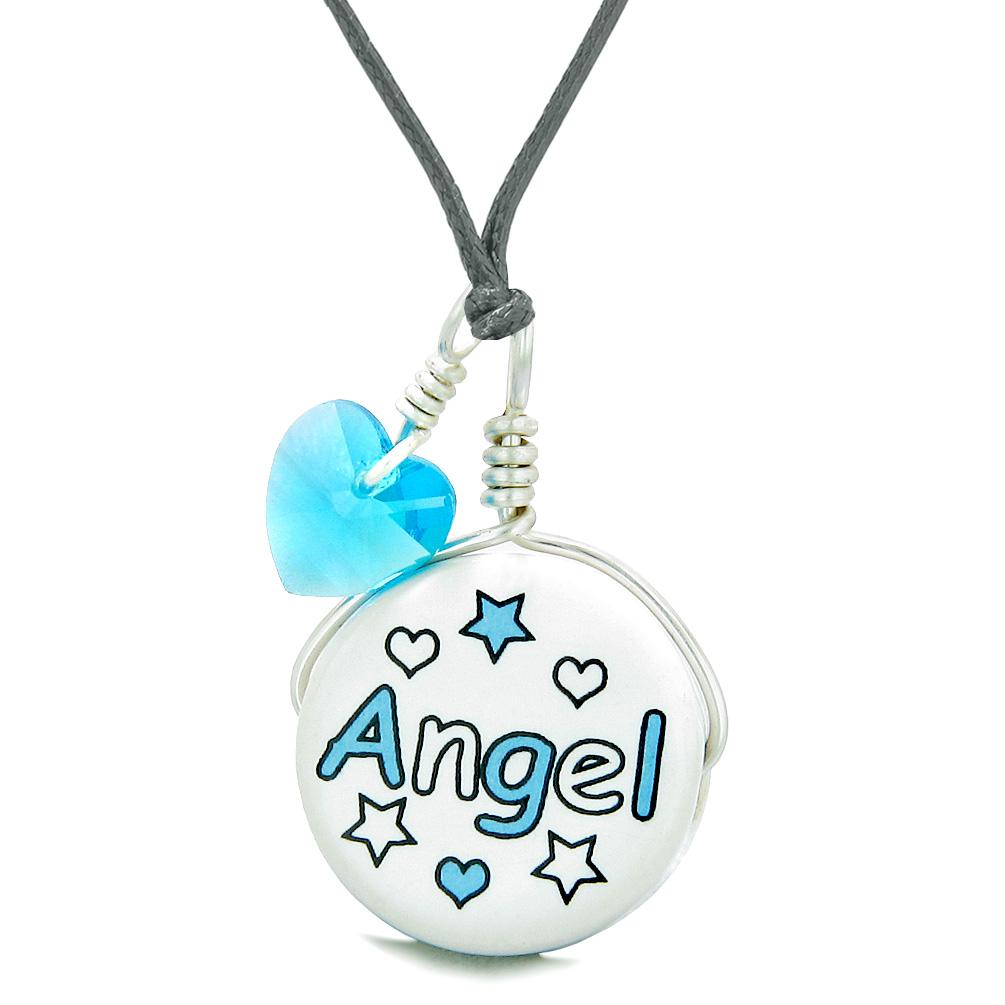Handcrafted Cute Ceramic Lucky Charm Aqua Angel Stars Sky Blue Heart Amulet Pendant Adjustable Necklace