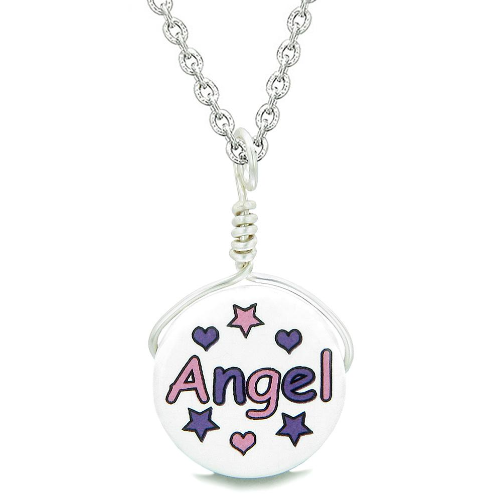 Handcrafted Cute Ceramic Lucky Charm Pink Purple Angel Stars Hearts Amulet Pendant 18 Inch Necklace