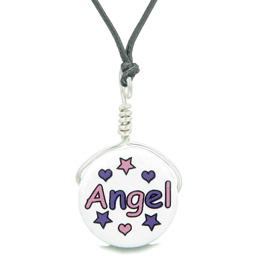 Handcrafted Cute Ceramic Lucky Charm Pink Purple Angel Stars Hearts Amulet Pendant Adjustable Necklace