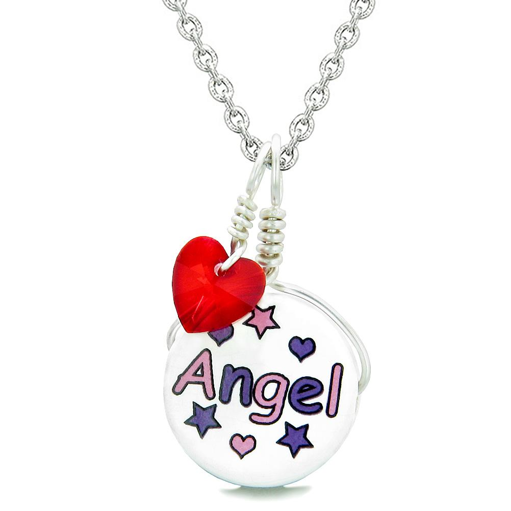 Handcrafted Cute Ceramic Lucky Charm Pink Purple Angel Stars Red Heart Amulet Pendant 22 Inch Necklace