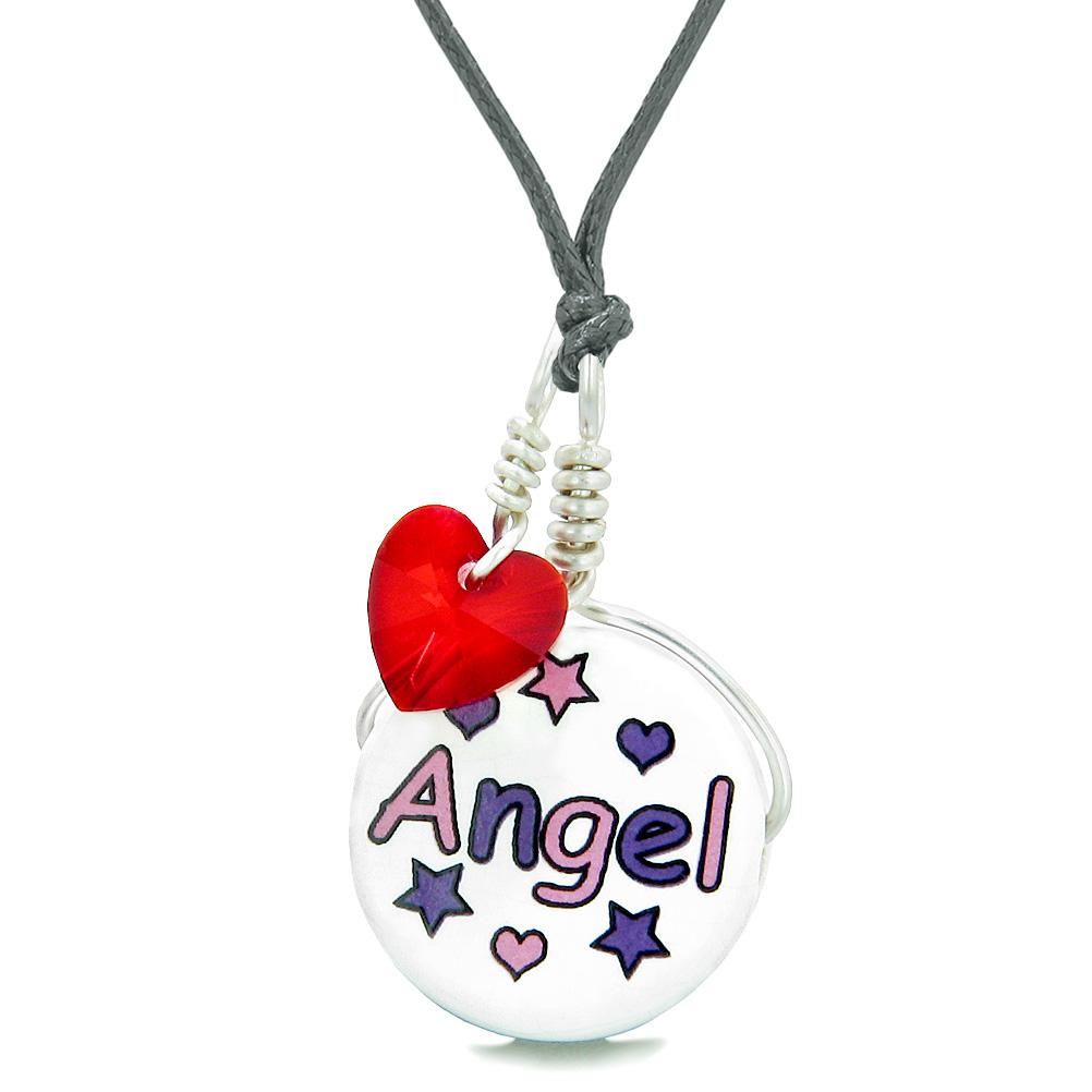 Handcrafted Cute Ceramic Lucky Charm Pink Purple Angel Stars Red Heart Amulet Pendant Adjustable Necklace