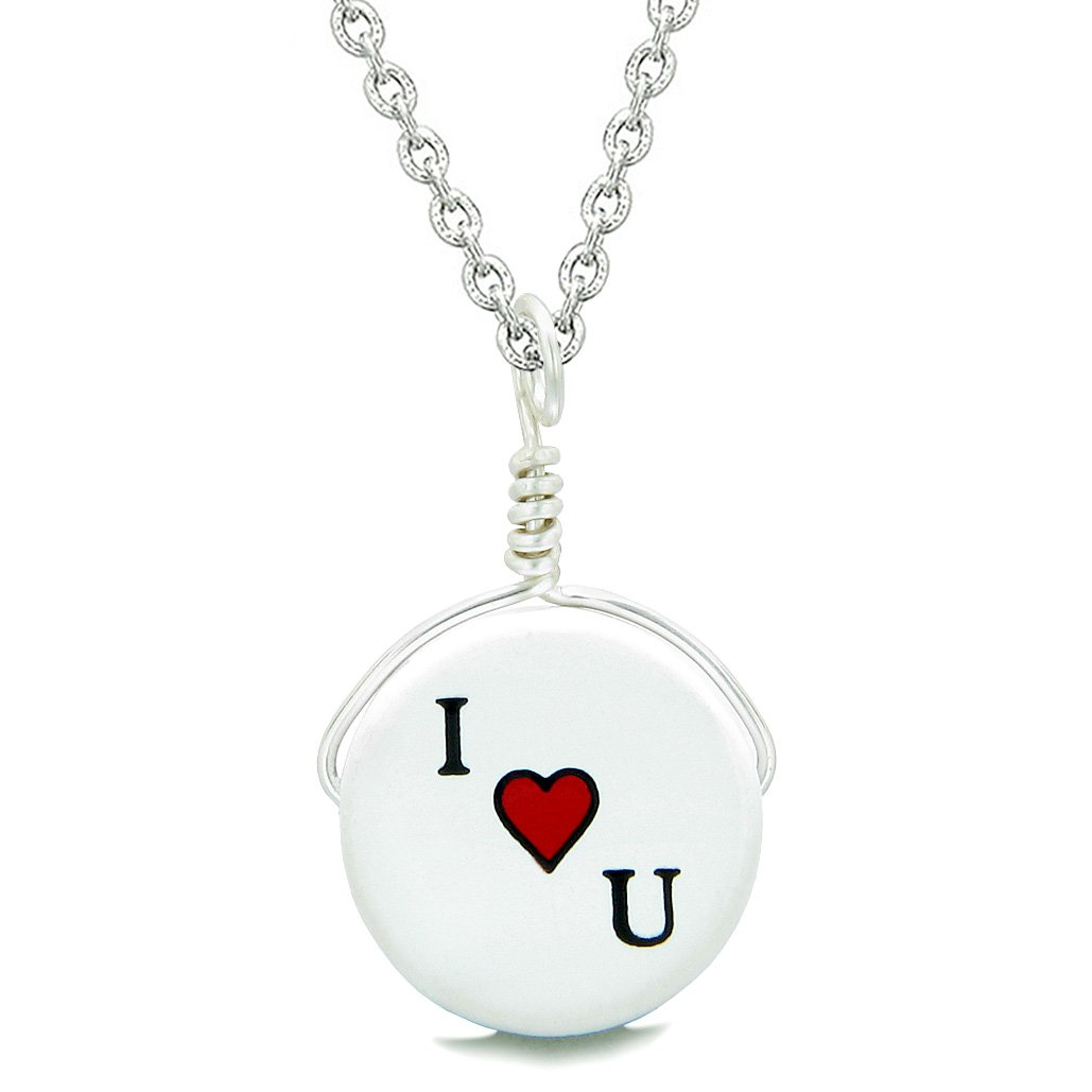 Handcrafted Cute Ceramic Lucky Charm I Love You Heart Amulet Pendant 18 Inch Necklace