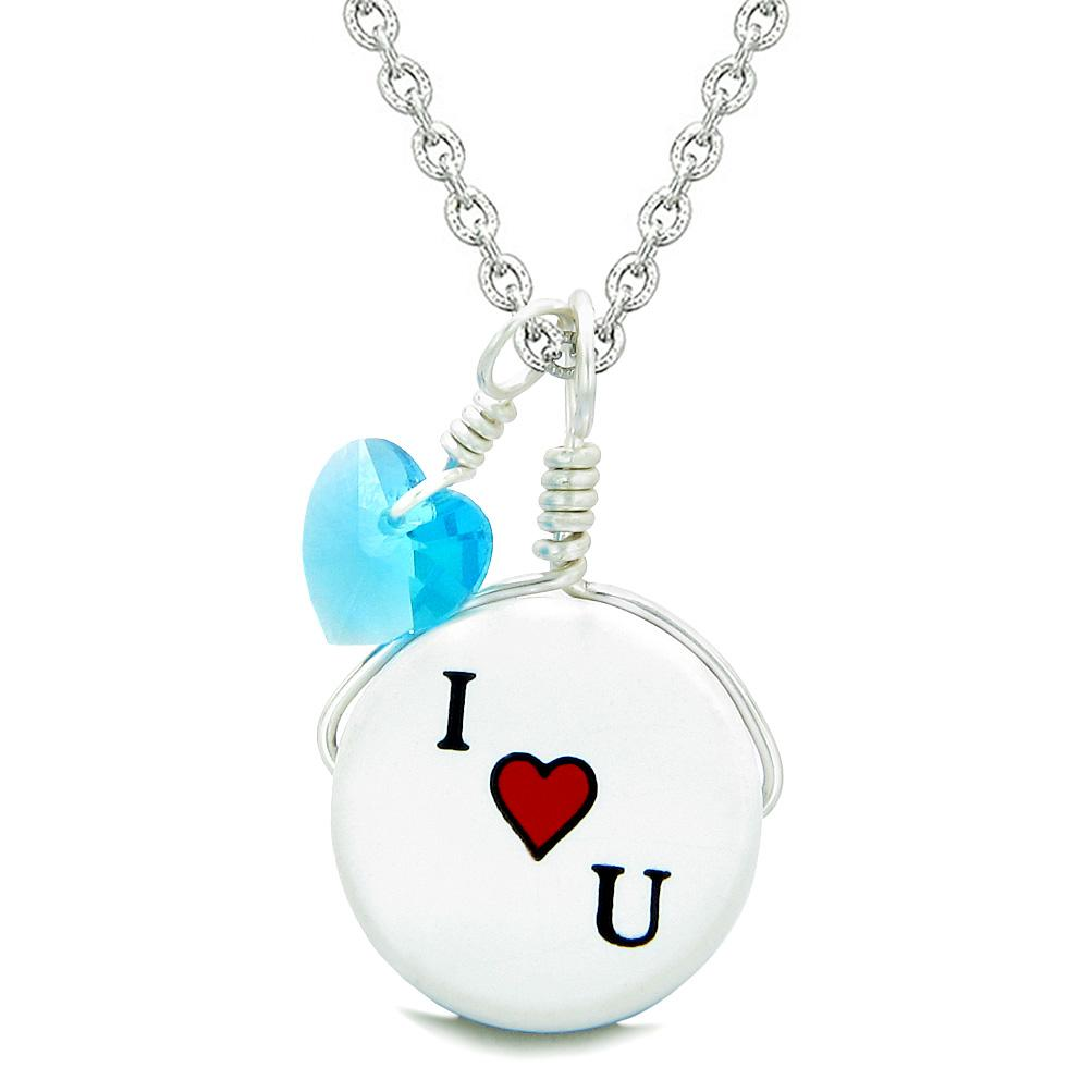 Handcrafted Cute Ceramic Lucky Charm I Love You Sky Blue Heart Amulet Pendant 22 Inch Necklace