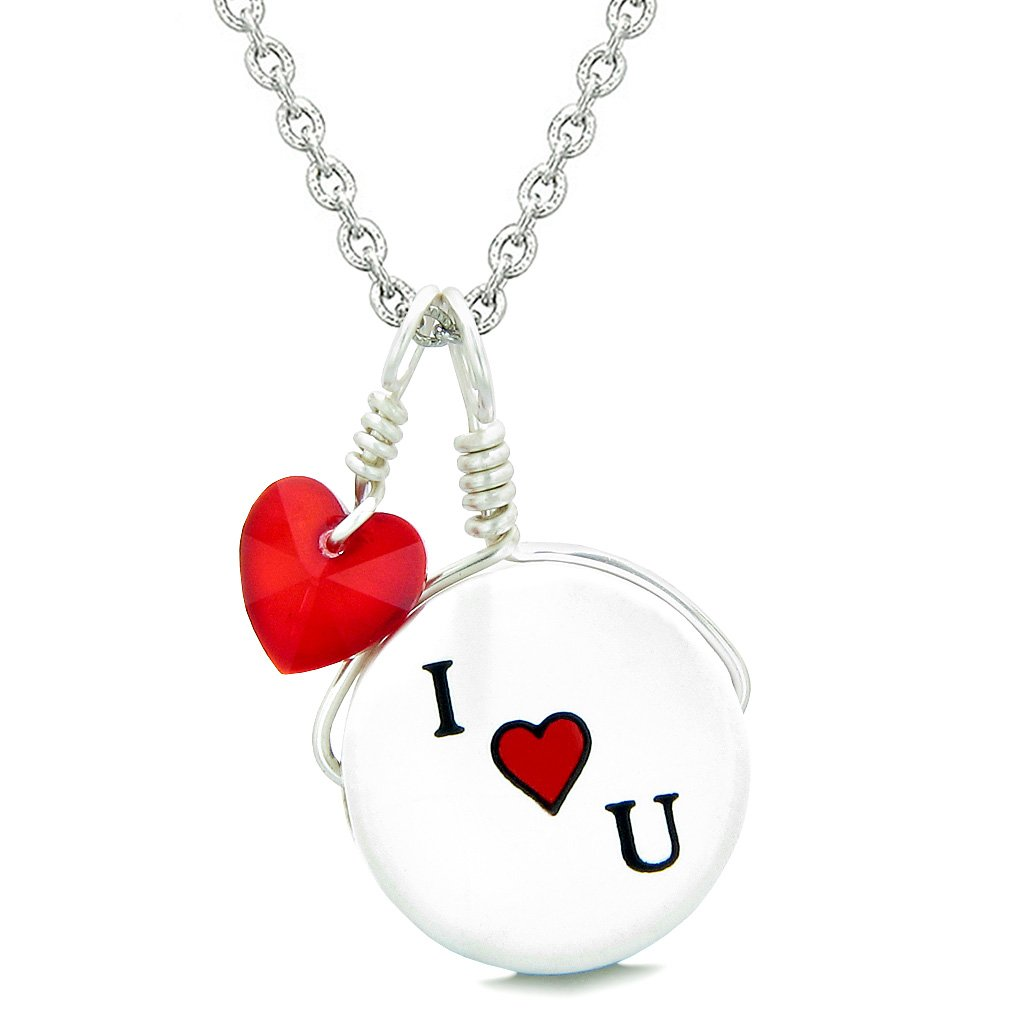 Handcrafted Cute Ceramic Lucky Charm I Love You Royal Red Heart Amulet Pendant 18 Inch Necklace