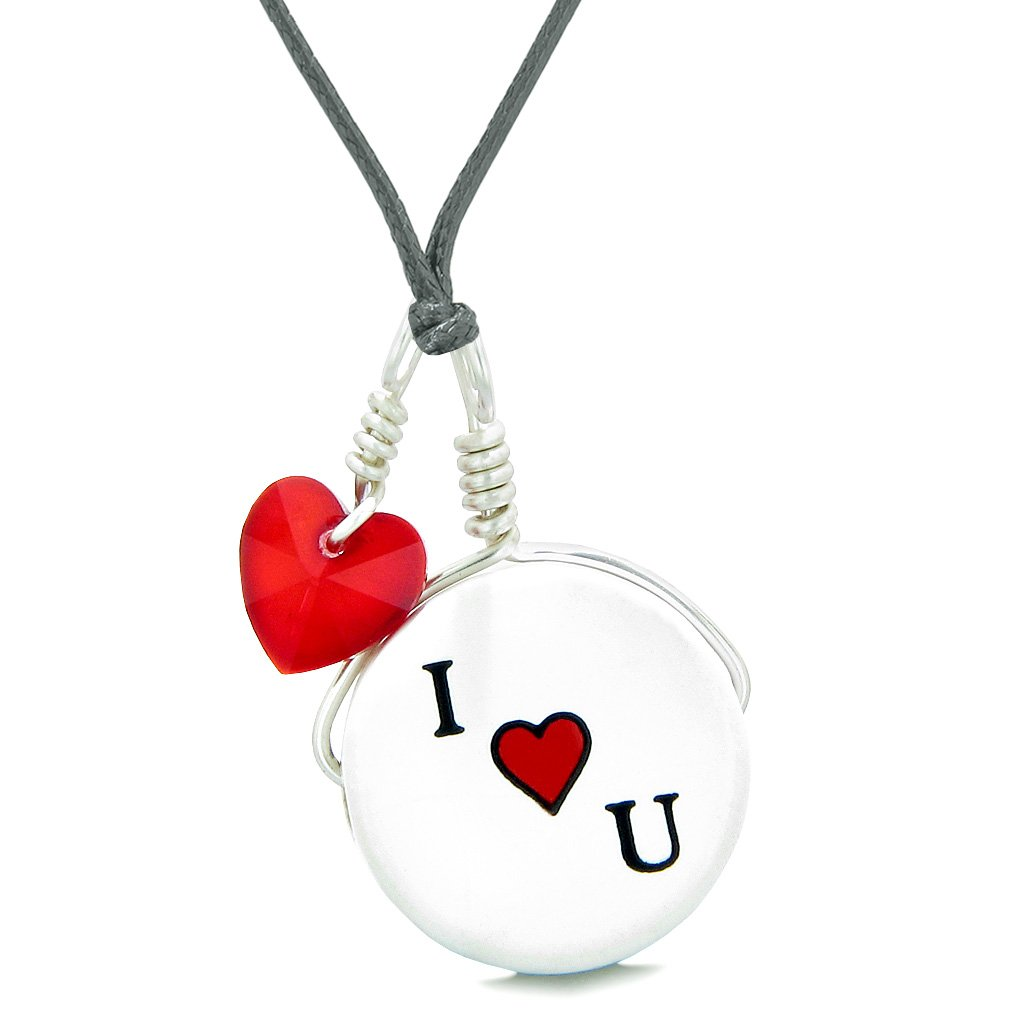 Handcrafted Cute Ceramic Lucky Charm I Love You Royal Red Heart Amulet Pendant Adjustable Necklace