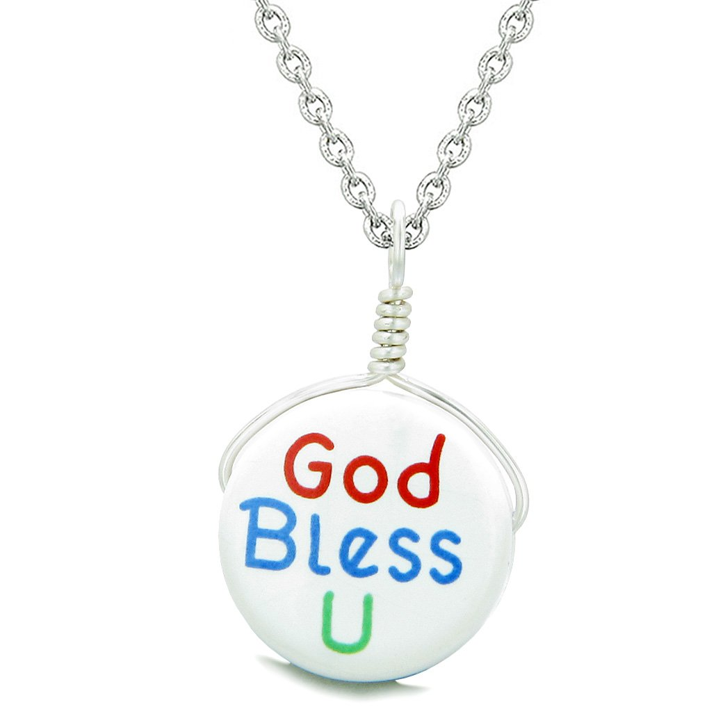 Handcrafted Cute Ceramic Lucky Charm God Bless You Protection Amulet Pendant 22 Inch Necklace