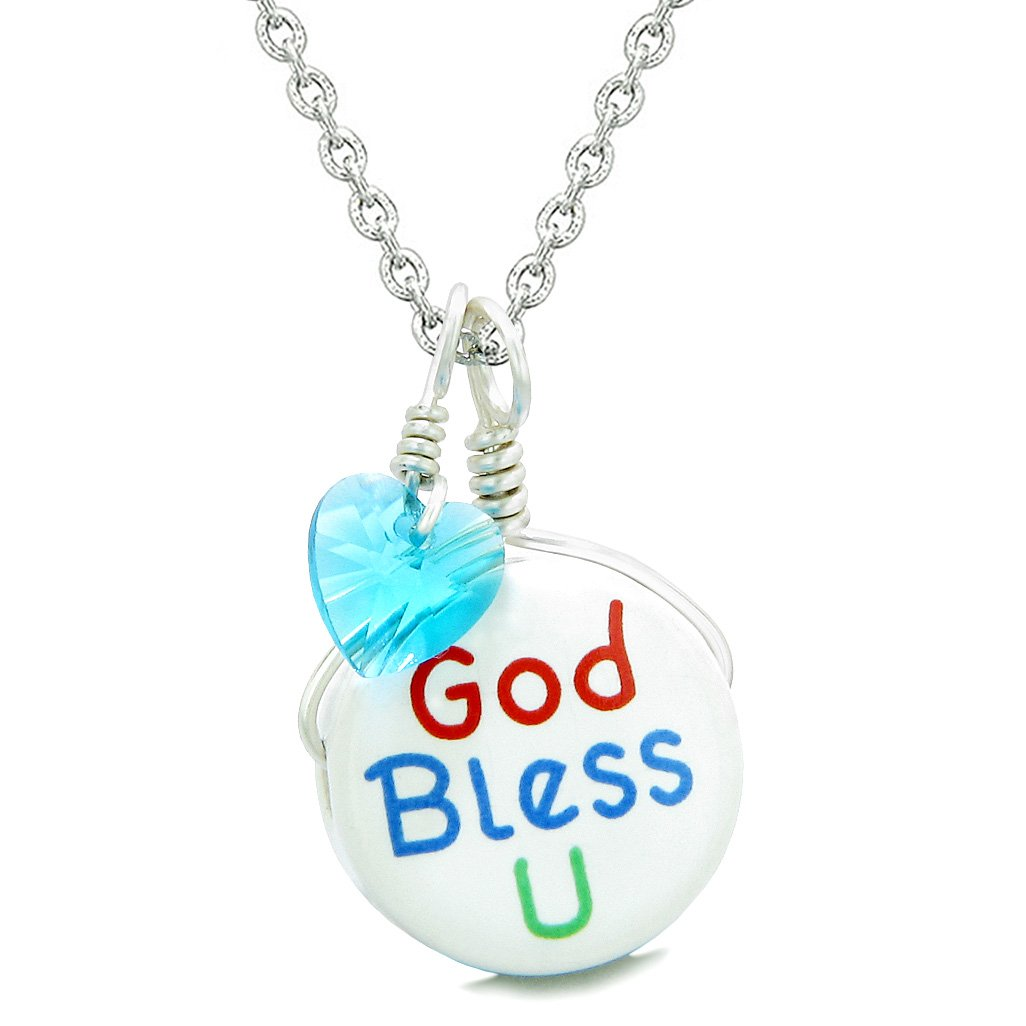 Handcrafted Cute Ceramic Lucky Charm God Bless You Blue Heart Protect Amulet Pendant 22 Inch Necklace
