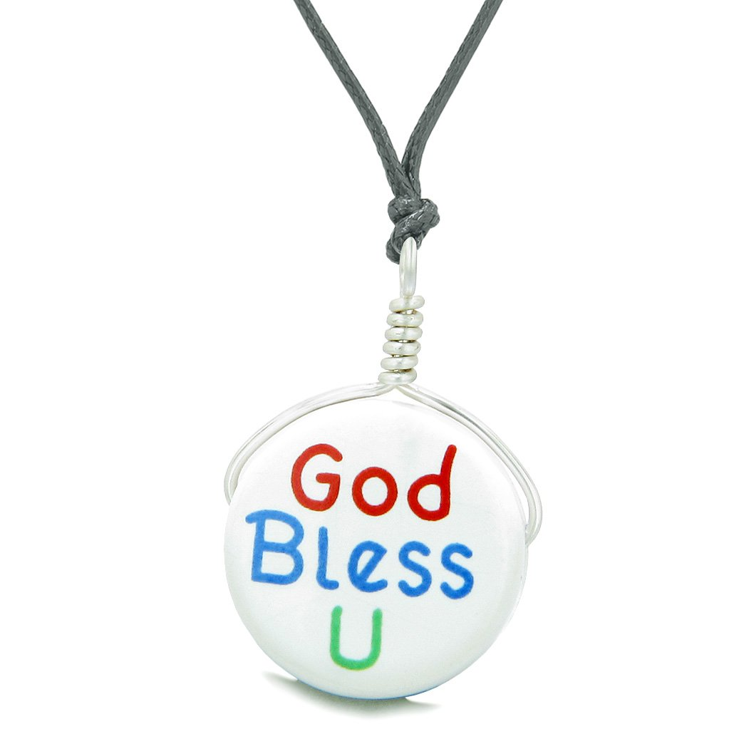 Handcrafted Cute Ceramic Lucky Charm God Bless You Protection Amulet Pendant Adjustable Necklace