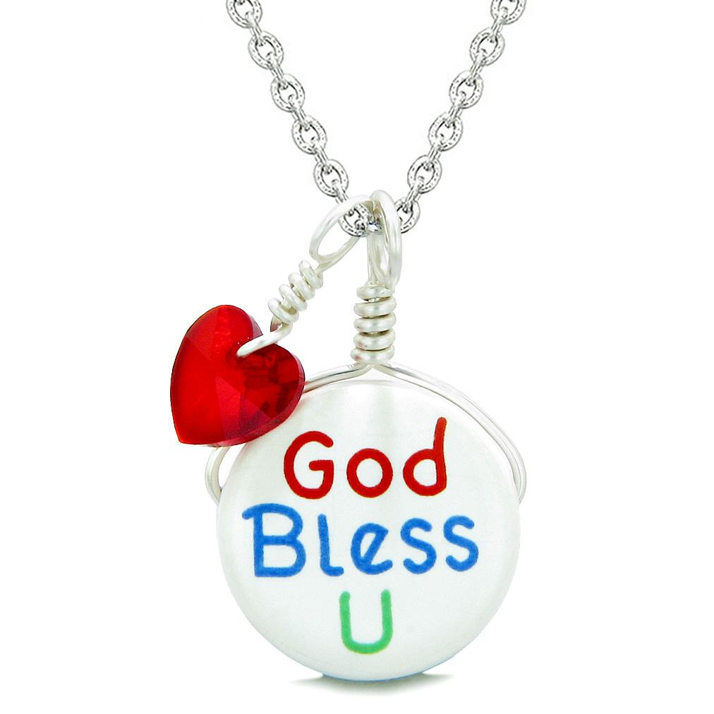 Handcrafted Cute Ceramic Lucky Charm God Bless You Red Heart Protect Amulet Pendant 18 Inch Necklace