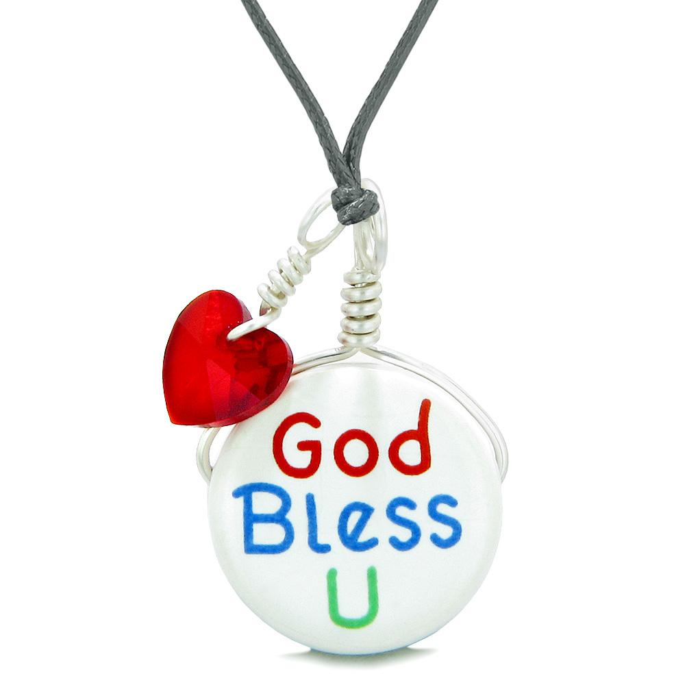 Handcrafted Cute Ceramic Lucky Charm God Bless You Red Heart Protect Amulet Pendant Adjustable Necklace