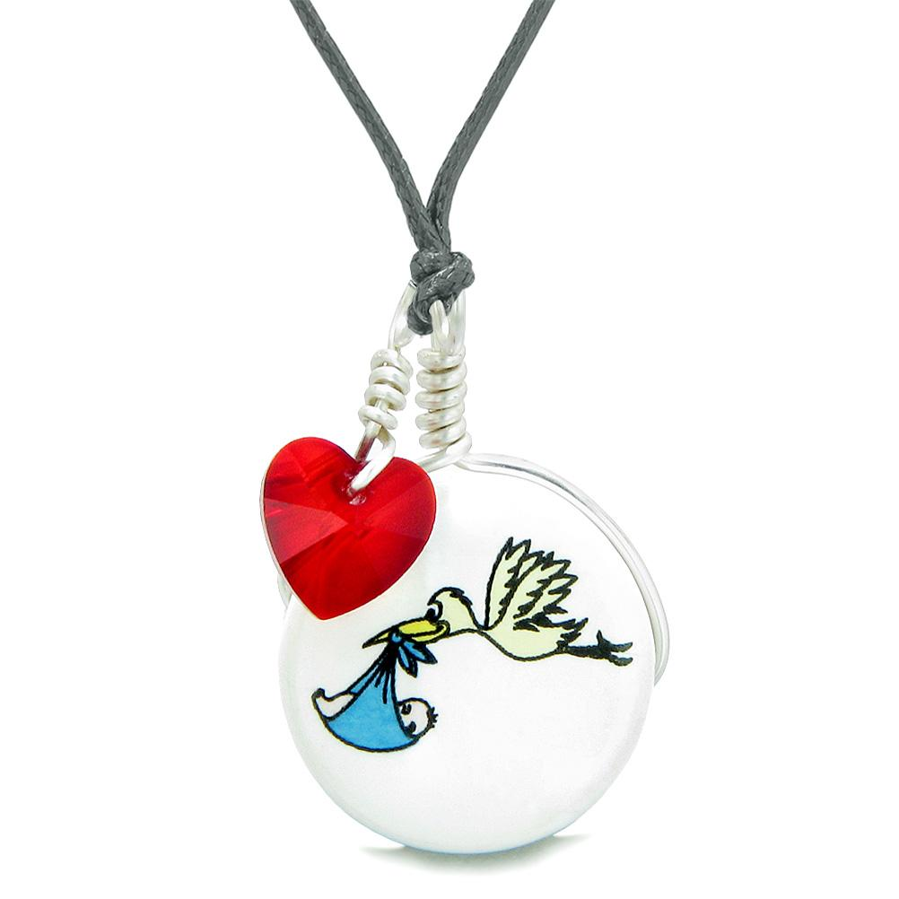 Handcrafted Cute Ceramic Lucky Charm Stork Caring Baby Boy Red Heart Amulet Pendant Adjustable Necklace
