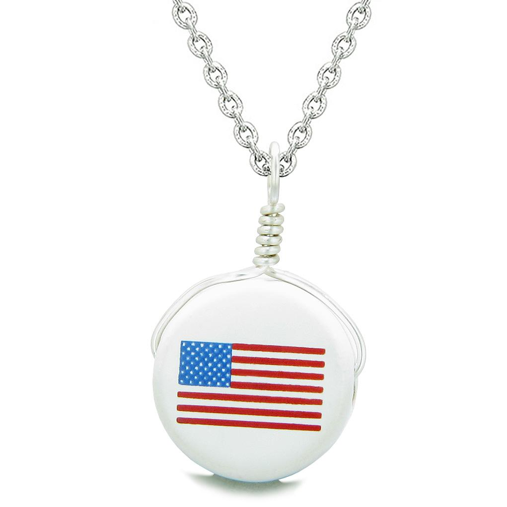 Handcrafted Cute Ceramic Lucky Charm Proud American Flag Amulet Pendant 18 Inch Necklace