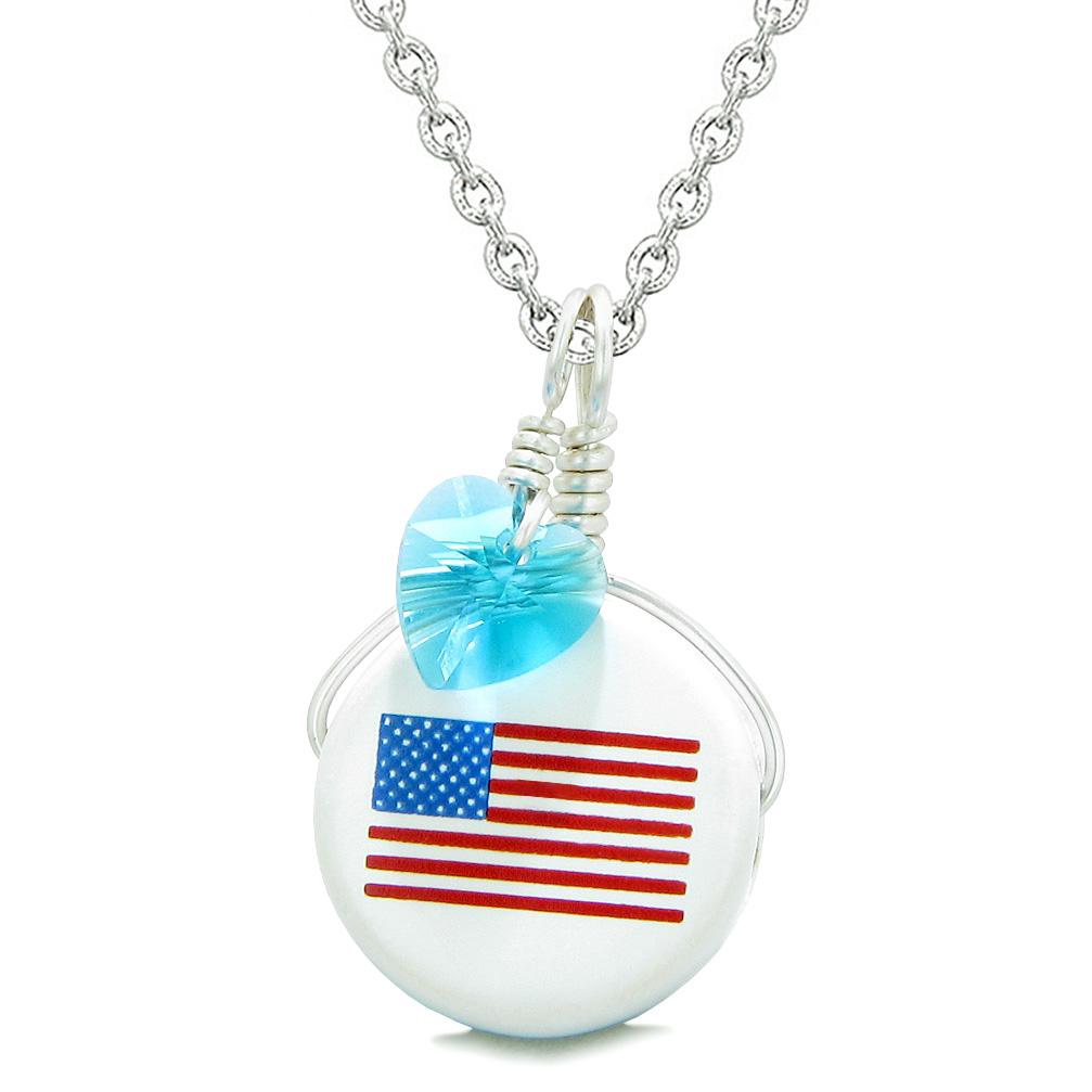 Handcrafted Cute Ceramic Lucky Charm Proud American Flag Blue Heart Amulet Pendant 22 Inch Necklace