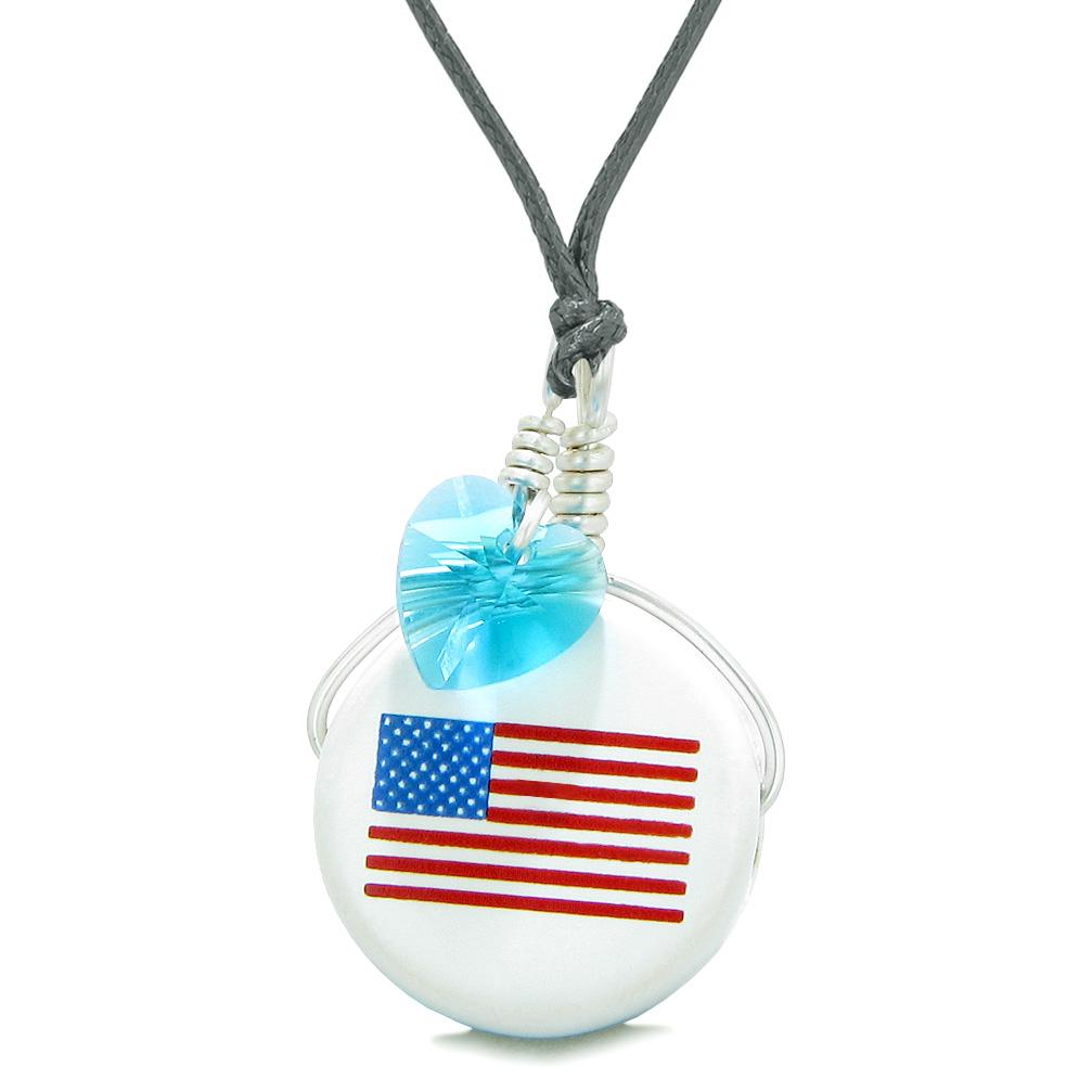 Handcrafted Cute Ceramic Lucky Charm Proud American Flag Blue Heart Amulet Pendant Adjustable Necklace