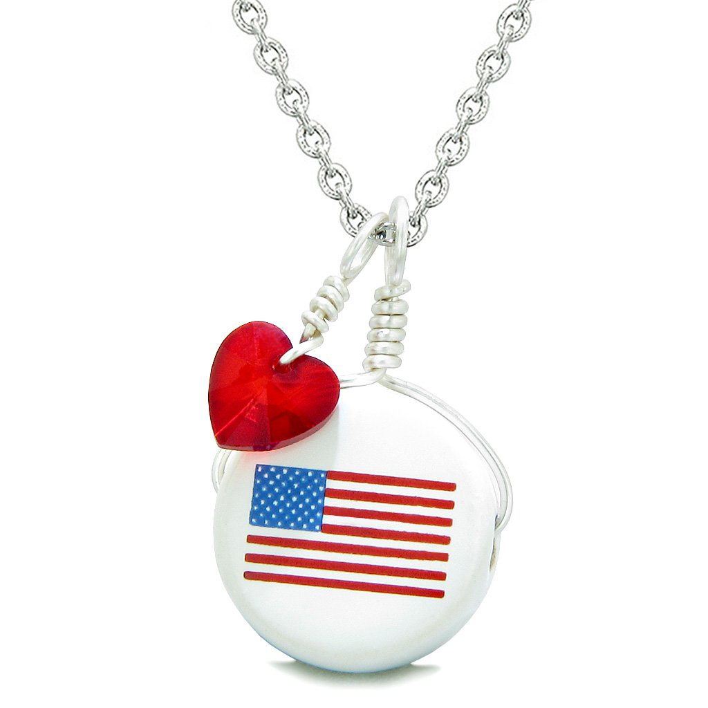Handcrafted Cute Ceramic Lucky Charm Proud American Flag Red Heart Amulet Pendant 18 Inch Necklace