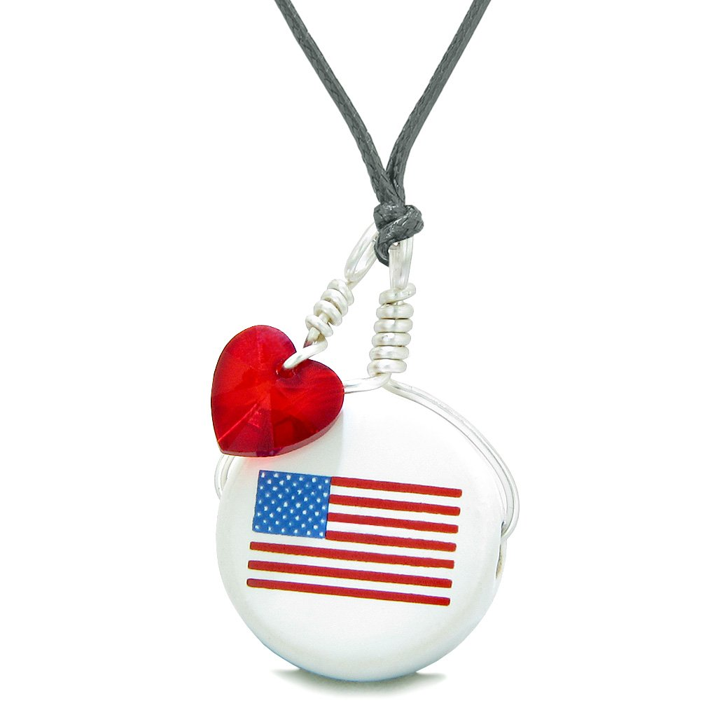 Handcrafted Cute Ceramic Lucky Charm Proud American Flag Red Heart Amulet Pendant Adjustable Necklace
