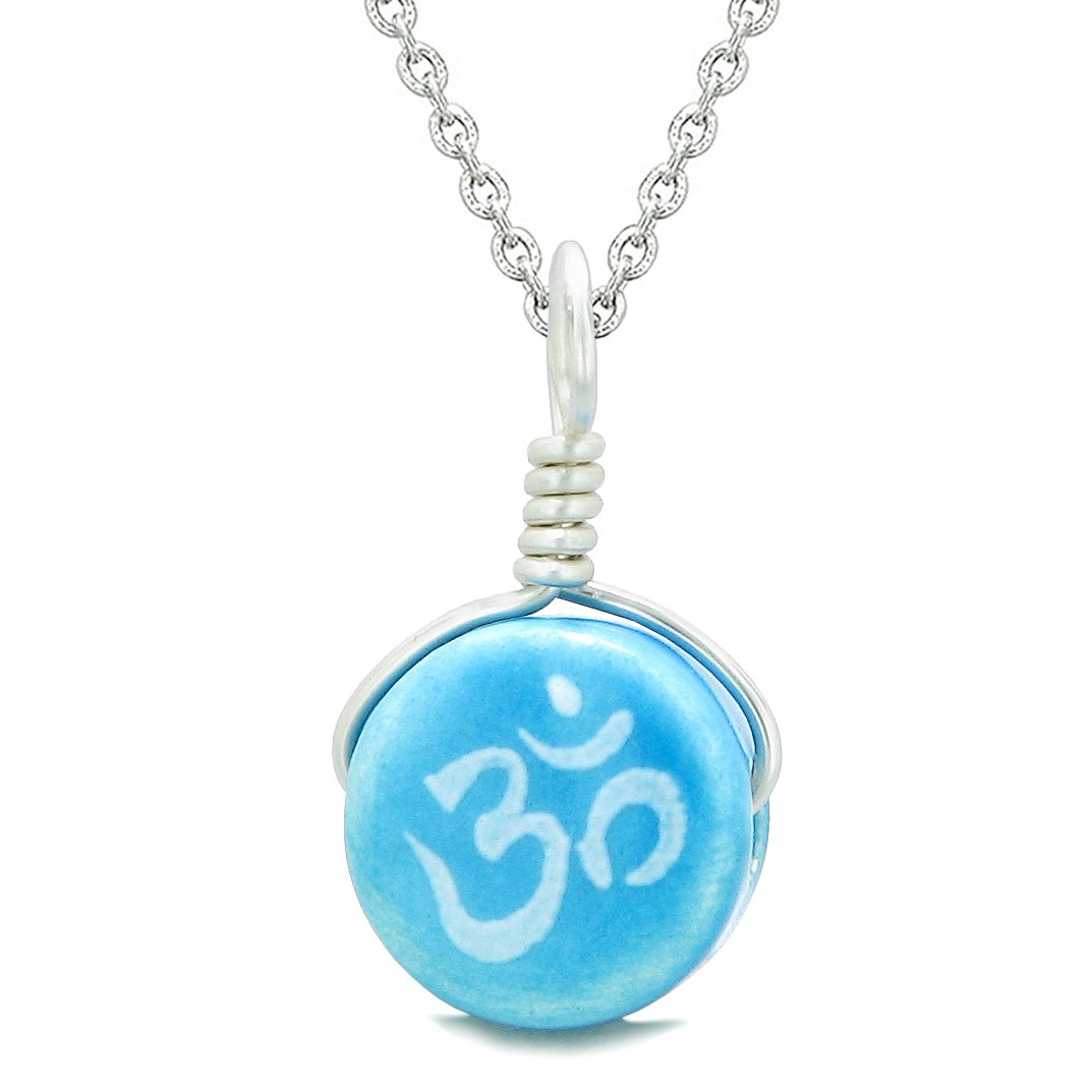 Handcrafted Cute Ceramic Lucky Charm Aqua OM Ohm Tibetan Amulet Pendant 18 Inch Necklace