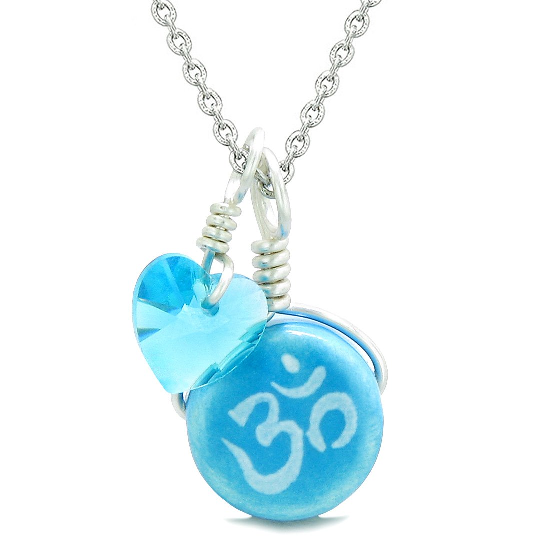 Handcrafted Cute Ceramic Lucky Charm Aqua OM Ohm Tibetan Blue Heart Amulet Pendant 18 Inch Necklace
