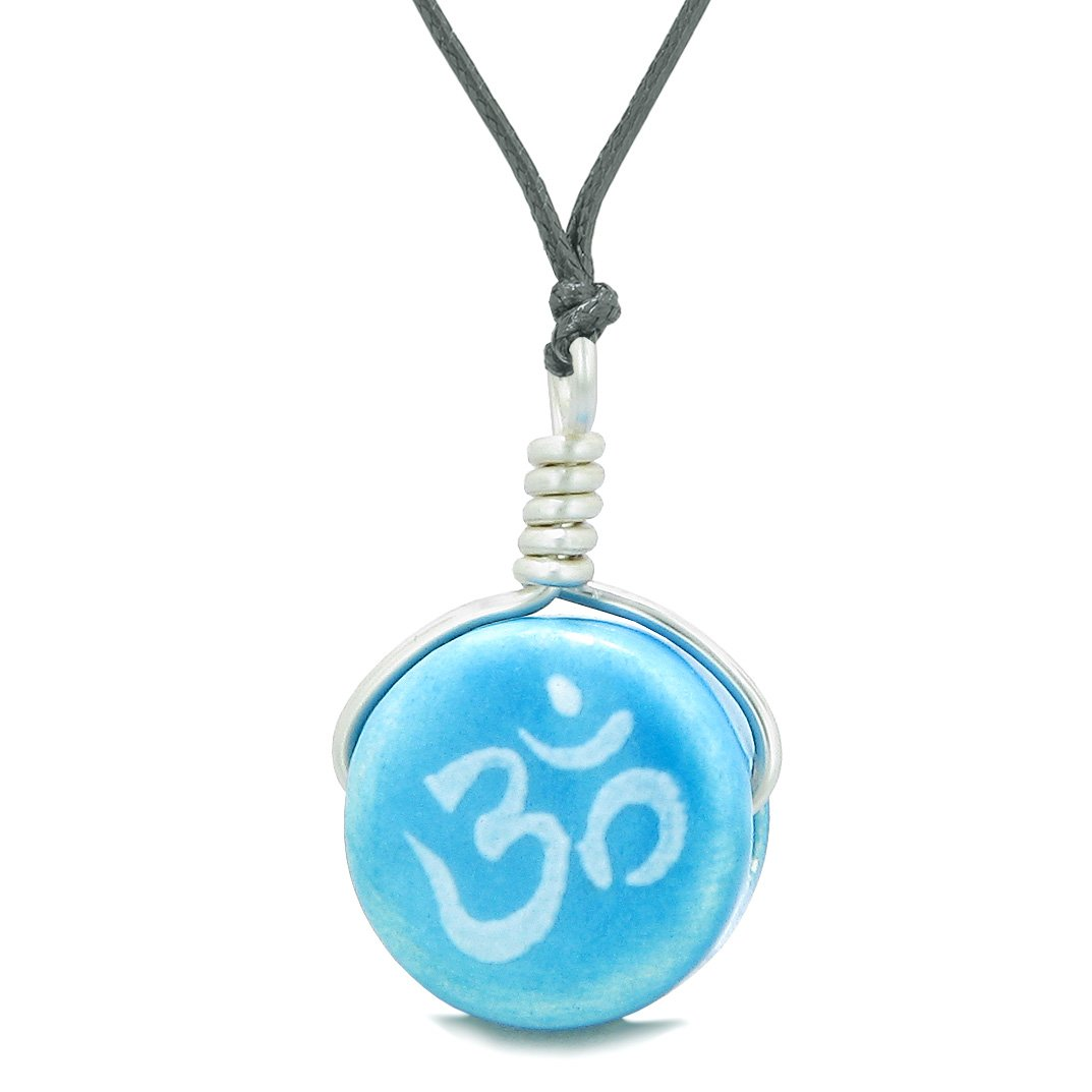 Handcrafted Cute Ceramic Lucky Charm Aqua OM Ohm Tibetan Amulet Pendant Adjustable Necklace