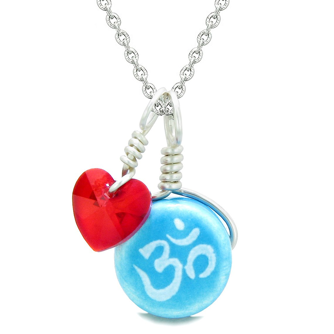 Handcrafted Cute Ceramic Lucky Charm Aqua OM Ohm Tibetan Red Heart Amulet Pendant 18 Inch Necklace