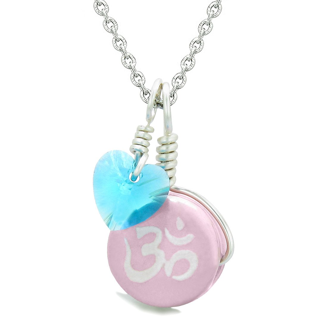 Handcrafted Cute Ceramic Lucky Charm Pink OM Ohm Tibetan Blue Heart Amulet Pendant 22 Inch Necklace