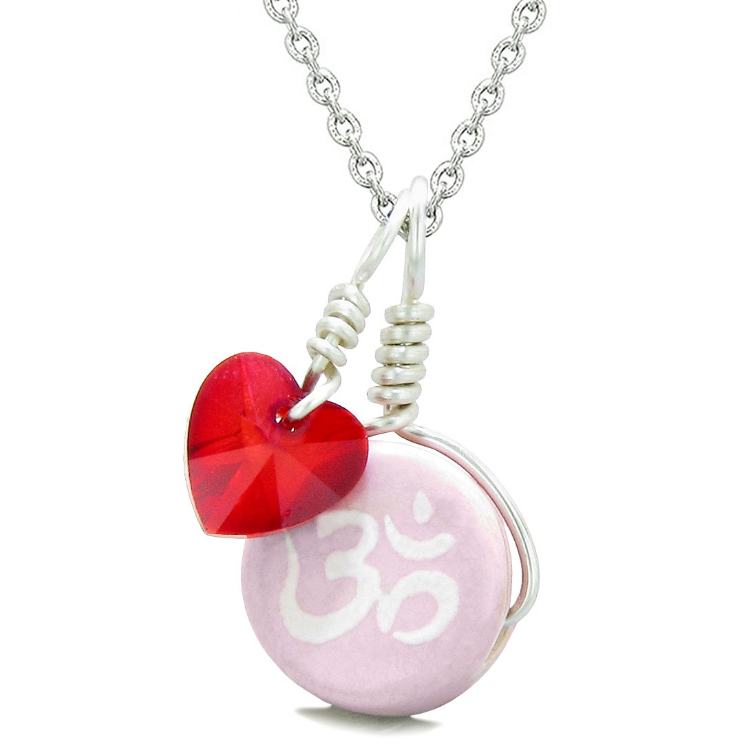 Handcrafted Cute Ceramic Lucky Charm Pink OM Ohm Tibetan Red Heart Amulet Pendant 18 Inch Necklace