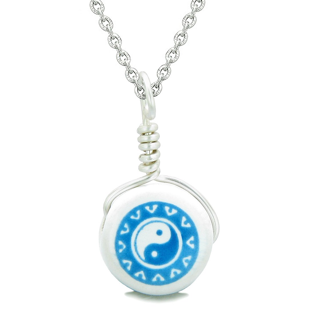 Handcrafted Cute Ceramic Lucky Charm Aqua Yin Yang Balance Amulet Pendant 18 Inch Necklace