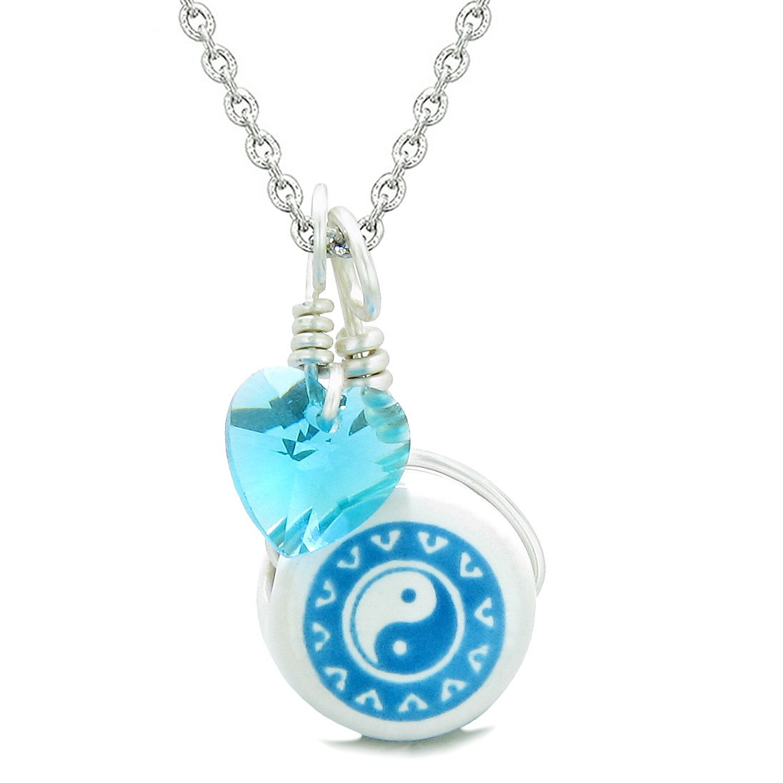 Handcrafted Cute Ceramic Lucky Charm Aqua Yin Yang Blue Heart Balance Amulet Pendant 18 Inch Necklace