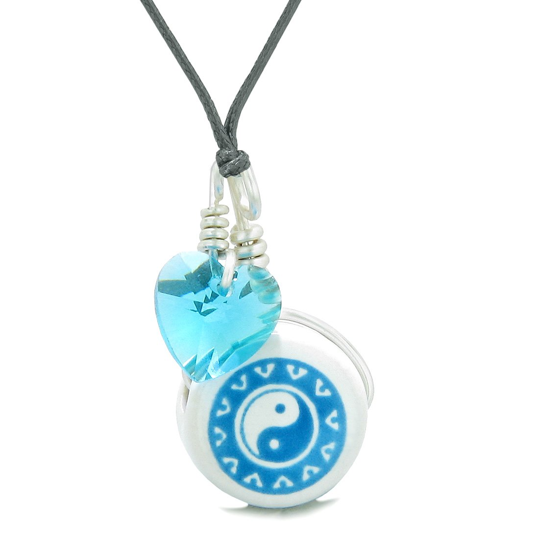 Handcrafted Cute Ceramic Lucky Charm Aqua Yin Yang Blue Heart Balance Amulet Pendant Adjustable Necklace