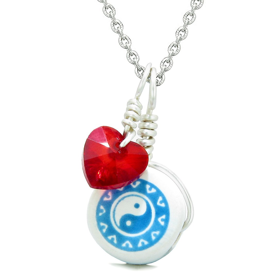 Handcrafted Cute Ceramic Lucky Charm Aqua Yin Yang Red Heart Balance Amulet Pendant 18 Inch Necklace