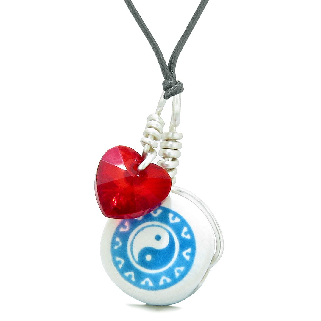 Handcrafted Cute Ceramic Lucky Charm Aqua Yin Yang Red Heart Balance Amulet Pendant Adjustable Necklace
