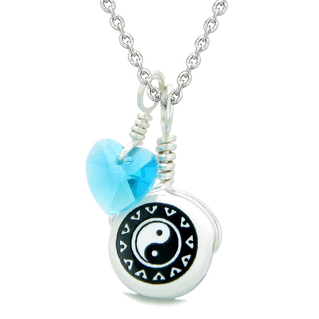 Handcrafted Cute Ceramic Lucky Charm Black White Yin Yang Blue Heart Amulet Pendant 22 Inch Necklace