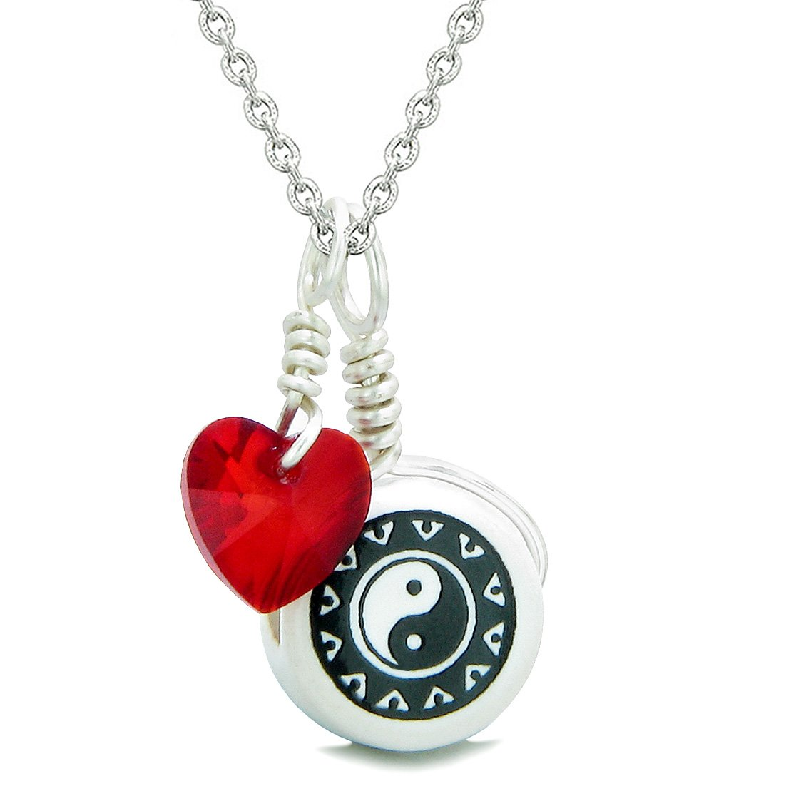 Handcrafted Cute Ceramic Lucky Charm Black White Yin Yang Red Heart Amulet Pendant 22 Inch Necklace