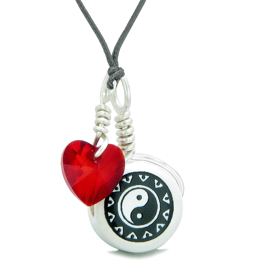 Handcrafted Cute Ceramic Lucky Charm Black White Yin Yang Red Heart Amulet Pendant Adjustable Necklace