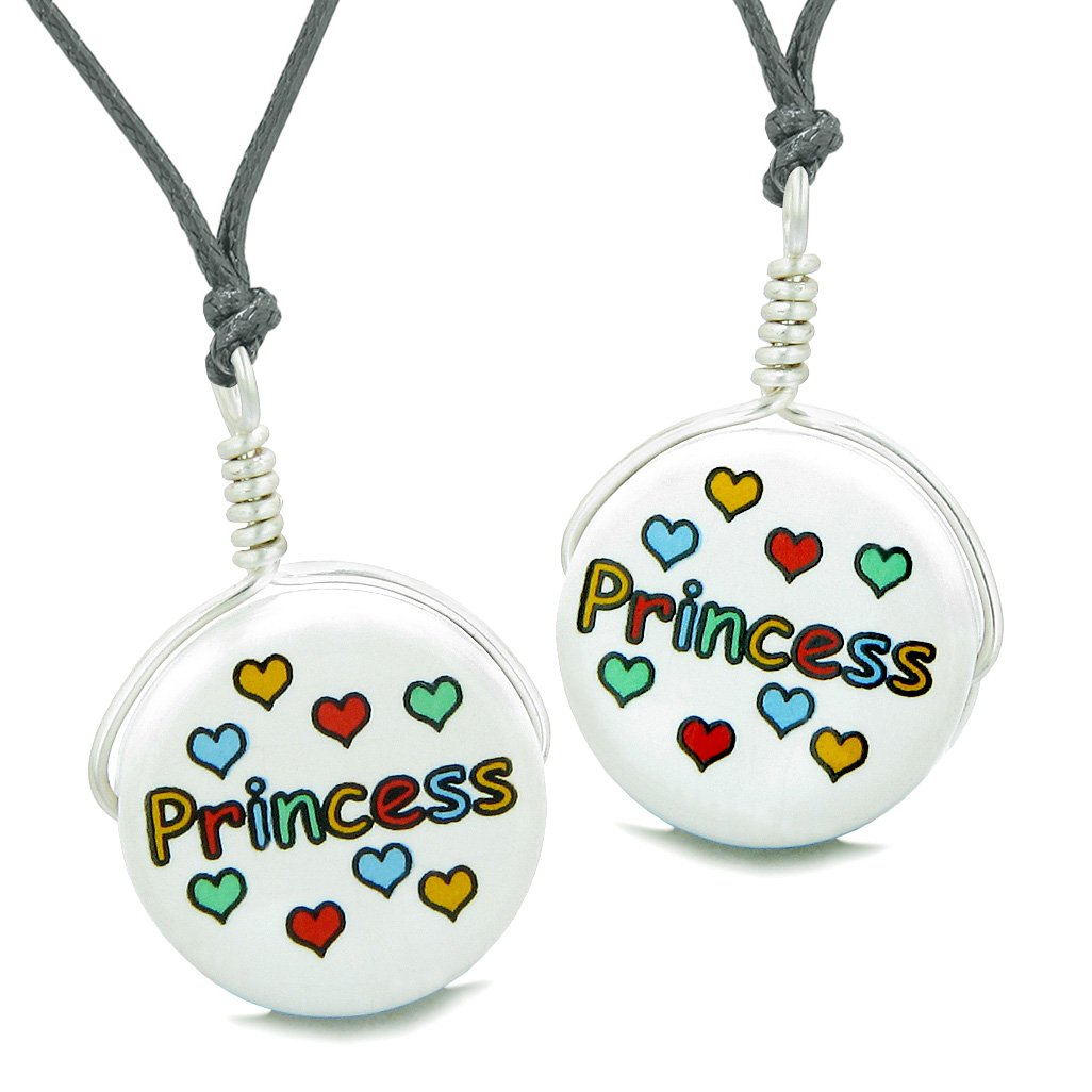 Love Couples or Best Friends Set Cute Ceramic Princess Lucky Charm Amulet Adjustable Necklaces
