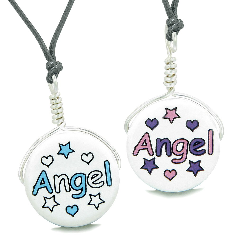 Love Couples or Best Friends Set Cute Ceramic Aqua Pink Angel Lucky Charms Amulet Adjustable Necklaces