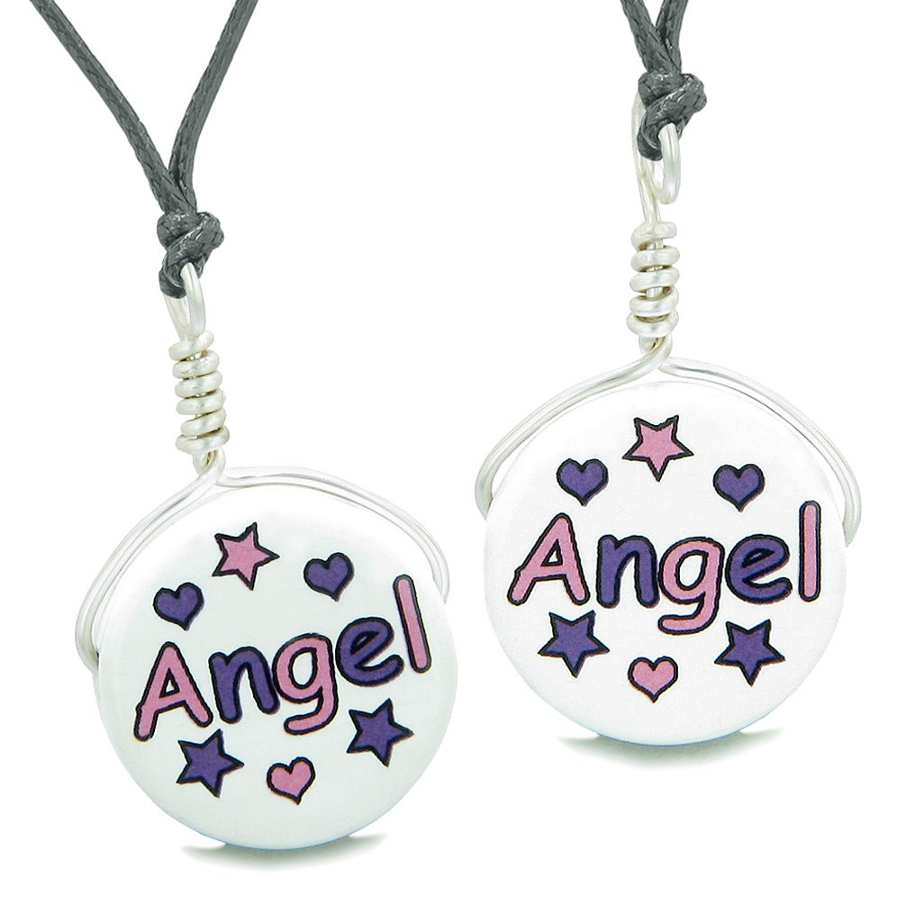 Love Couples or Best Friends Set Cute Ceramic Pink Purple Angel Lucky Charm Amulet Adjustable Necklaces