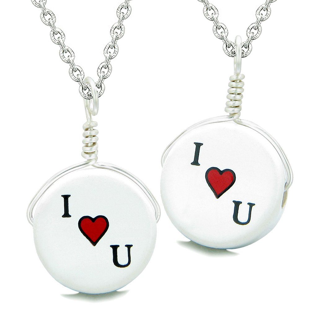 Love Couples or Best Friends Set Cute Ceramic I Love You Heart Lucky Charms Amulet Pendant Necklaces