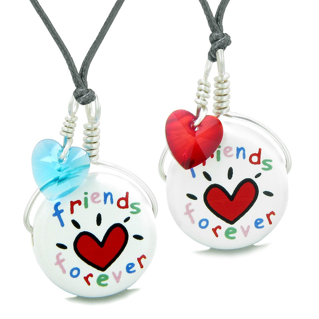 Love Couples Best Friends Forever Set Ceramic Lucky Charm Blue Red Hearts Amulet Adjustable Necklaces