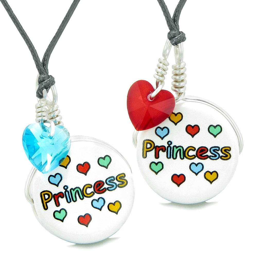 Love Couples or BFF Set Cute Ceramic Princess Lucky Charm Blue Red Hearts Amulet Adjustable Necklaces